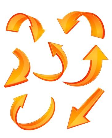 flecha direccion: Conjunto de iconos de flecha naranja brillante para dise�o web Vectores