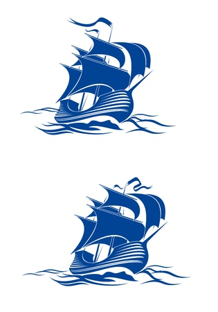 caravelle: Naviguer navire dans l'eau de l'oc�an pour Voyage ou d'une autre conception Illustration