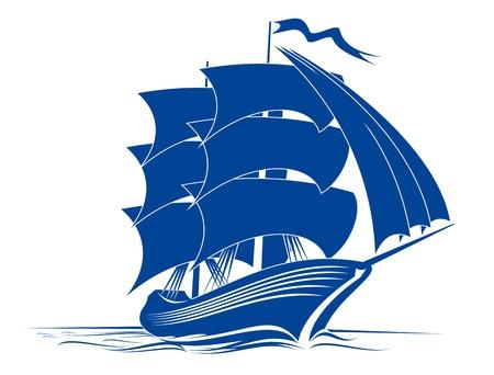 caravelle: Bord d'un voilier dans les eaux oc�aniques pour le voyage ou une autre conception Illustration