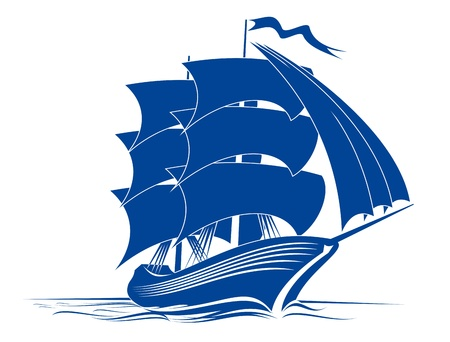 yacht isolated: Navegar el barco en el agua de mar para viajes o otro dise�o