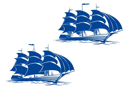 cannon: Sail ship in ocean water for travel or another design Illustration