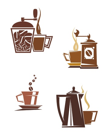 cappuccino: Coffee and tea symbols and icons for food design