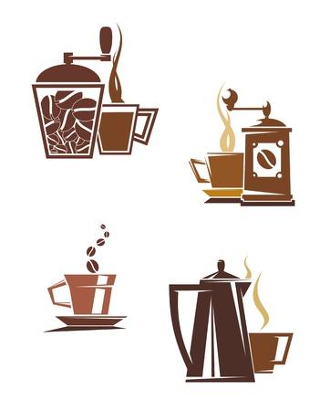 Símbolos de café y té e iconos para diseño de alimentos
