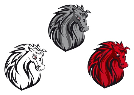 Horse cartoon tattoo for design isolated on white Vector