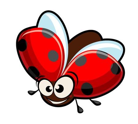 Grappige cartoon lieveheersbeestje geïsoleerd op wit voor ontwerp
