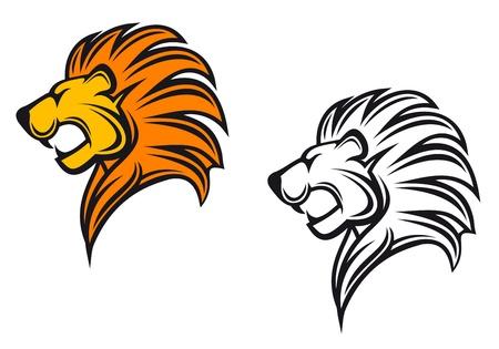 Tête de lion isolés comme signe ou symbole héraldique