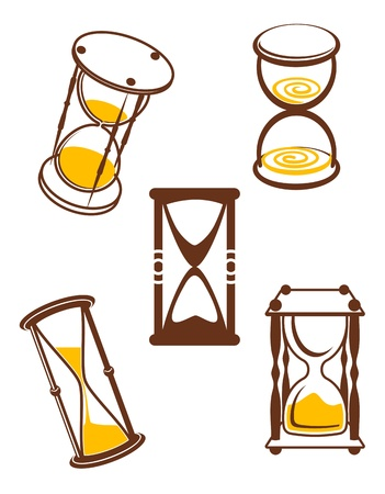 sandglass: Hourglass symbols and icons for time concept and design