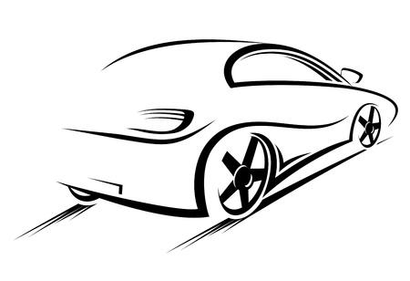 silhouette voiture: Silhouette de voiture de course de sport design
