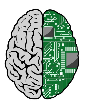 computer memory: Brain with motherboard as a computer concept