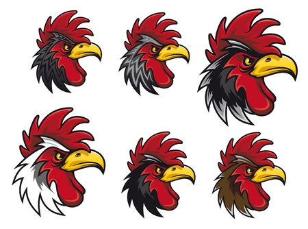 Cartoon cock heads set for mascot or another design Vector