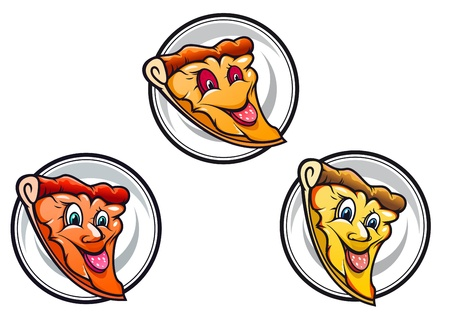 Cartoon pizza symbols isolated on white for junk or fast food design Vector