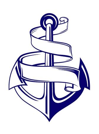 navy ship: S�mbolo de anclaje con cinta o banner para dise�o de viajes