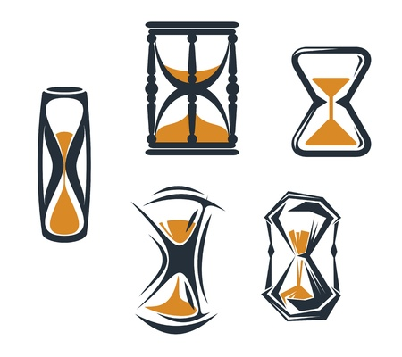 hands  hour: Hourglass symbols and icons for time concept anddesign Illustration