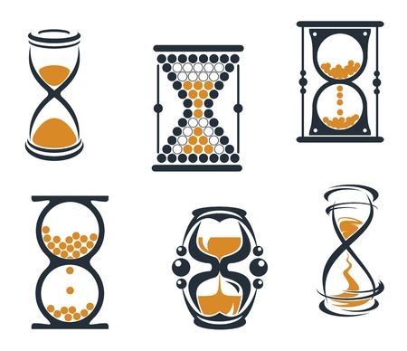 timer: Hourglass symbols and icons for time concept anddesign Illustration