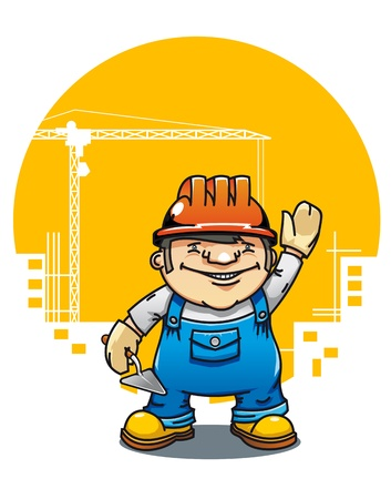 hand drill: Smiling cartoon builder with tools on building construction