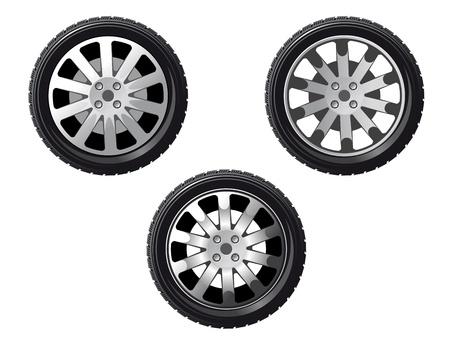 aluminum wheels: Rueda y el neum�tico establecen aislado en blanco para el dise�o de transporte o servicio