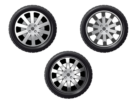 tire shop: Wheel and tire set isolated on white for transport or service design Illustration