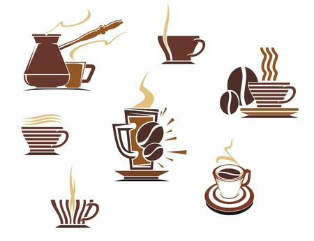 Coffee and tea symbols and icons for food design Vector