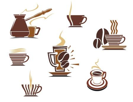 hot chocolate drink: S�mbolos de caf� y t� e iconos para dise�o de alimentos Vectores
