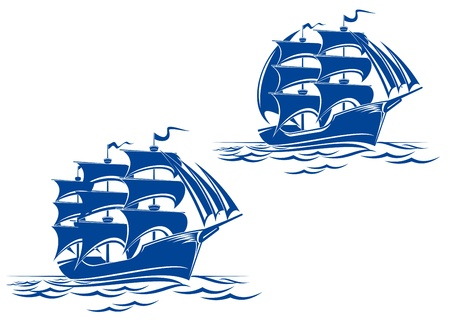 galleon: Sail ship in ocean water for travel or another design Illustration