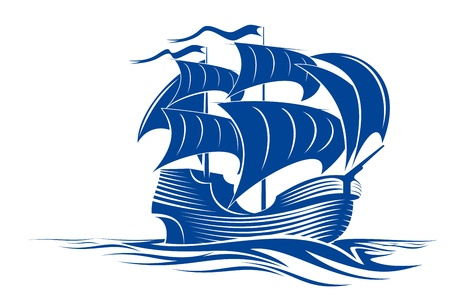 Sail ship in ocean water for travel or another design Vector
