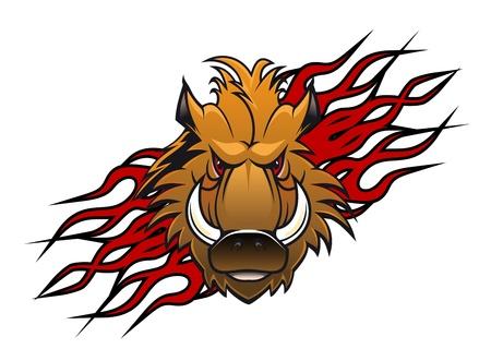 eber: Wildschwein Kopf im Cartoon-Stil wie eine Tätowierung oder Maskottchen