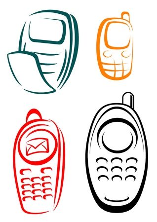 Mobile phones icons set for communication or technology design Vector
