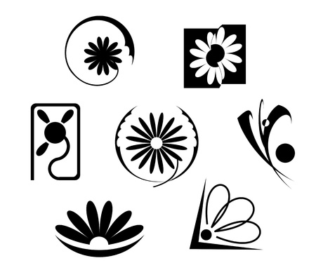 Set of flowers icons isolated on white Stock Vector - 9609377