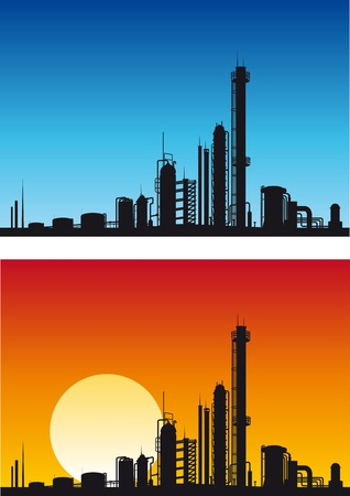 oil refinery: Chemical or gasoline factory for industrial design Illustration
