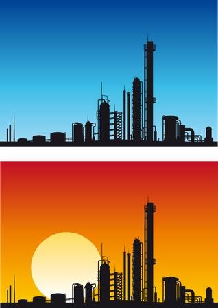 industria quimica: F�brica qu�mica o gasolina para dise�o industrial Vectores
