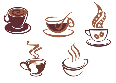 coffee beans isolated: Coffee and tea symbols and icons for food design