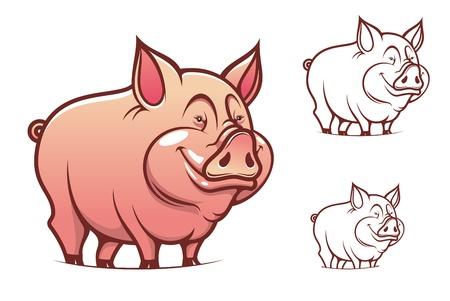 cerdo caricatura: Cerdo de dibujos animados Rosa de granja aislada en blanco