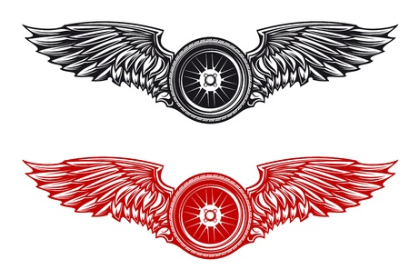 a wing: Wheel with wings for tattoo or mascot design