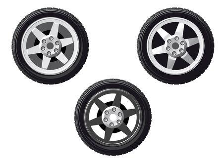 aluminum wheels: Conjunto de rueda y el neum�tico aislado en blanco para el dise�o