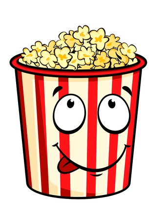 pop corn: Cartoon popcorn isolated on white for fastfood design Illustration
