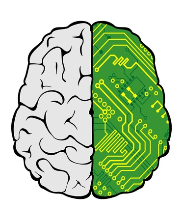 Brain with motherboard as a computer concept Vector