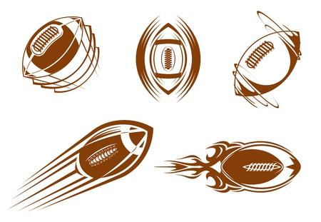 banni�re football: Rugby et symboles de football am�ricain pour la conception de mascottes ou sports