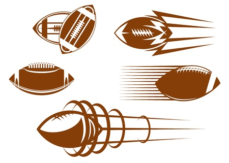 league: Rugby and american football symbols for mascots or sports design Illustration