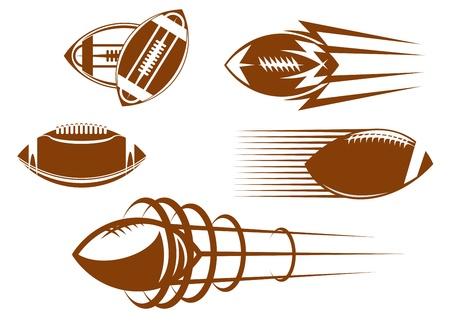 elipsy: Rugby i Symbole amerykańskie piłki nożnej dla maskotek lub projektu sportowego Ilustracja