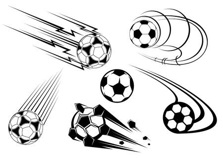 Voetbal en voetbal symbolen, mascottes en emblemen voor sport-ontwerp Vector Illustratie