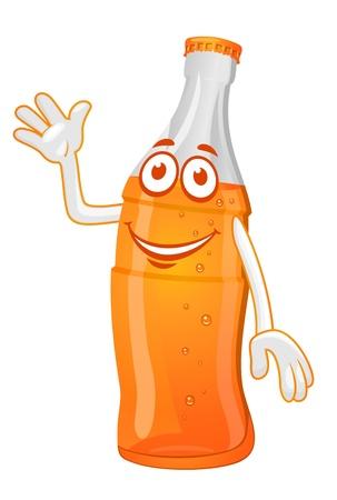 nonalcoholic: Fresh drink cola on orange bottle for fast food design
