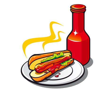 Appetizing hotdog with ketchup on white background Vector