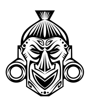 aztec: Ancient tribal religious mask isolated on white Illustration