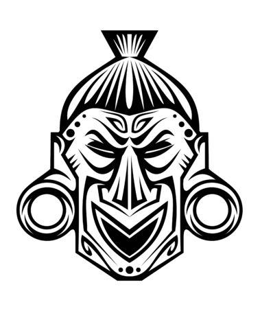 tribu: Antigua máscara religiosa tribal aislado en blanco Vectores