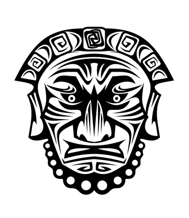 voodoo: Ancient tribal religious mask isolated on white Illustration