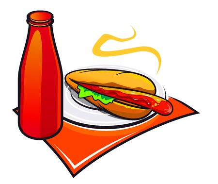 Appetizing hotdog with ketchup on white background Stock Vector - 9721523