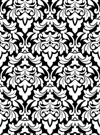 Damask seamless pattern for background design in white and black color Vector