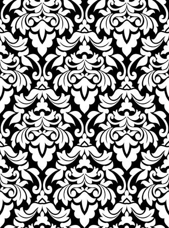 damast: Nahtlose Damastmuster f�r Hintergrunddesign in wei� und schwarz Illustration