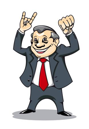 arm muscles: Smiling businessman with muscles in comic style Illustration