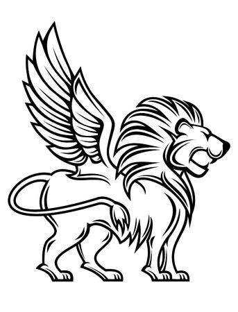 lion wings: Le�n aislado con alas para el dise�o de her�ldica Vectores